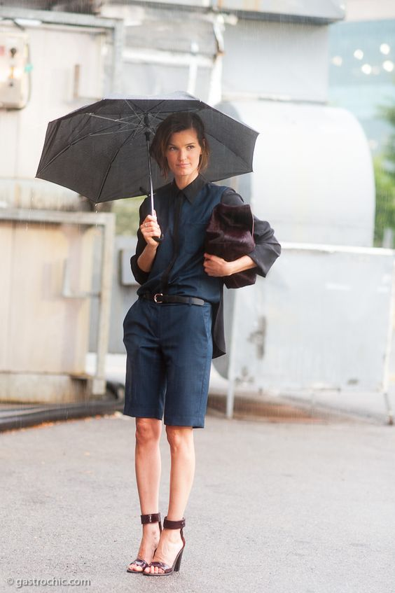 Hanneli in a Rain Storm, Outside Alexander Wang